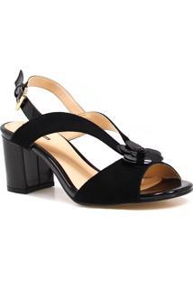 Sandália Zariff Shoes Salto Verniz Preto