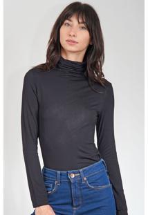 Blusa Calvin Klein Gola Alta Preta - Preto - Feminino - Viscose - Dafiti