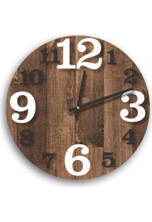 Relógio De Parede Premium Madeira Ripada Com Números Em Relevo Branco E Preto Ônix 50Cm Grande