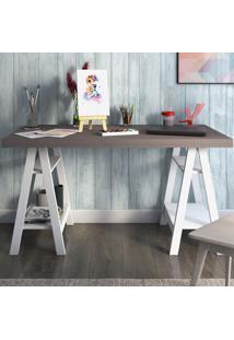 Mesa Escrivaninha Art Avelã/Branco - Artany