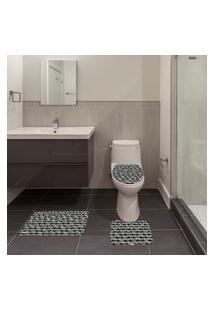 Jogo De Banheiro Ornamental Preto Único