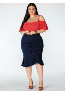 Blusa Plus Size Laranja Ciganinha