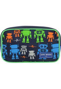 Nécessaire Robô- Azul Escuro & Verde- 11X19X5Cm-Jacki Design