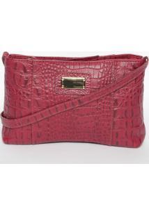 Bolsa Croco Em Couro- Vermelho Escuro- 12,5X21X4,5Cmdi Marlys