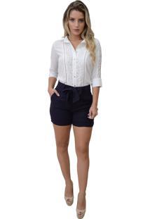 Camisa Mamorena Renda Guipir Frente E Mangas Off White
