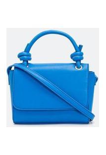 Bolsa Transversal Pequena Lisa   Satinato   Azul   U