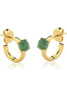 Brinco Toque De Joia Mini Argola Pedra Pequena Quartzo Verde - Feminino-Dourado