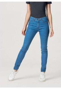 Calça Jeans Feminina Skinny Cintura Média Azul-Med