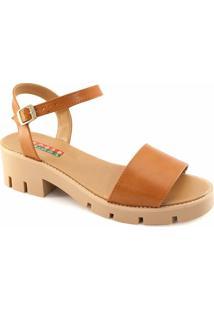 Sandália Tratorada Numeração Especial Sapato Show - Feminino-Caramelo