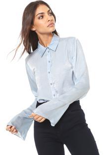 Camisa Cetim Carmim Mangas Flare Azul