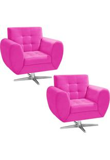 Kit 02 Poltronas D'Rossi Decorativa Grécia Suede Pink Com Base Giratória Estrela Aço Cromado