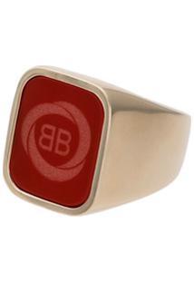 Balenciaga Anel Quadrado Com Logo - Vermelho