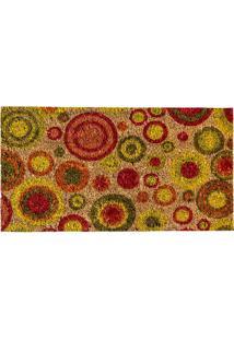 Capacho Círculos- Vermelho & Amarelo- 70X40Cm- Aagi Tapetes