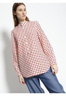 2ed2f31d76 ... Blusa Quadrados Com Seda - Off White   Vermelhalacoste