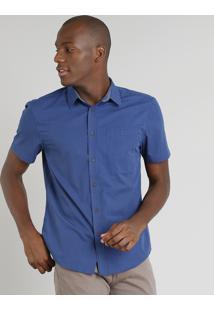 Camisa Masculina Comfort Listrada Com Bolso Manga Curta Azul Marinho