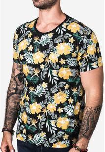 Camiseta Floral Preta 102462