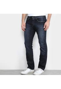 Calça Jeans Slim Calvin Klein Super Escura Com Puídos Masculina - Masculino