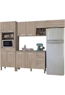 Cozinha Compacta Ametista Com Balcão 10 Portas Composição 5 Nogal - Ki