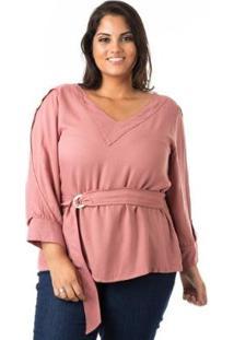 Blusa Em Crepe Com Cinto Plus Size Confidencial Extra Feminina - Feminino-Rosa