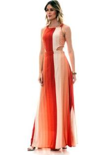 Vestido Bisô Longo Degradê Feminino - Feminino-Coral