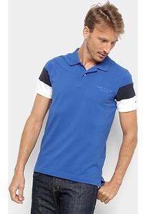 Camisa Polo Tommy Hilfiger Cns Sleeve Colorblock Masculina - Masculino-Azul Royal