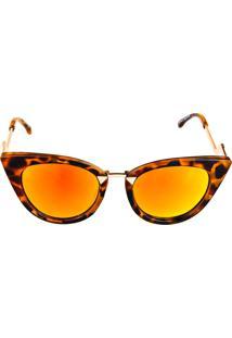 Óculos Solar Titânia Animal Print Com Dourado E Lente Espelhada Colors