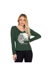 Blusa Feminina Doce Trama Com Estampa Verde