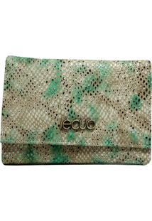 Carteira Em Couro Recuo Fashion Bag Snake Green