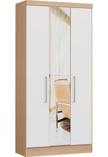 Modulo Com 3 Portas E 2 Gavetas C/ Espelho Infinity 3830A-Castro Móveis - Nogueira / Branco