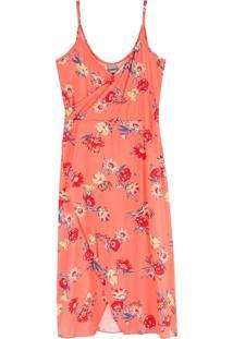Vestido Laranja Mídi Floral Em Viscose