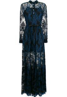Three Floor Vestido Com Renda - Azul