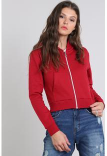 Blusão Feminino Básico Em Moletom Com Capuz Vermelho