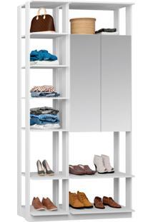 Guarda-Roupa Solteiro Modulado Clothes I Com Espelho 2 Pt Branco