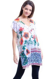 Blusa Estampada 101 Resort Wear Floral Branca