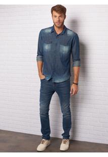 Calça John John Slim Catania 3D Jeans Azul Masculina Cc Slim Catania 3D-Jeans Escuro-38