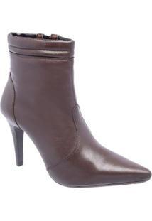 Bota Couro Cano Curto D&R Shoes Salto Fino Feminina - Feminino-Café