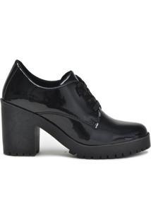 Sapato Ferrarelo Verniz Oxford Feminino - Feminino-Preto