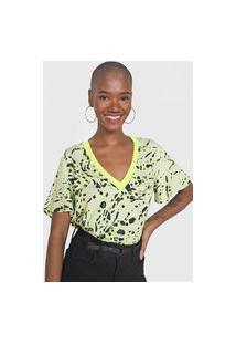 Camiseta Forum Animal Print Neon Amarela/Preta