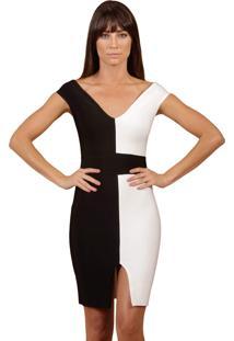 Vestido La Belle Bandage Curto Fenda Frontal Preto/Branco