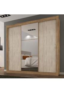 Guarda Roupa Casal Com Espelho 3 Portas 3 Gavetas Flex Color Smart Siena Móveis Ipê Tex/Vanilla Tex