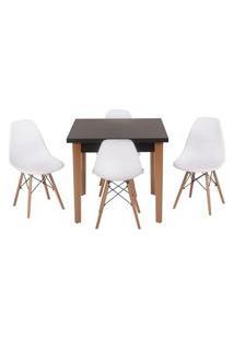 Conjunto Mesa De Jantar Luiza 80Cm Preta Com 4 Cadeiras Eames Eiffel - Branco