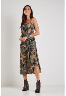 Vestido Sacada Estampa Floral Camuflado Midi - Feminino-Verde Militar