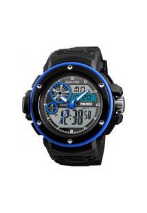 Relógio Skmei Masculino -1341- Preto E Azul