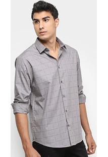 Camisa Calvin Klein Xadrez Falhado Masculina - Masculino-Mescla