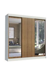 Guarda-Roupa Casal Madesa Istambul 3 Portas De Correr Com Espelhos 3 Gavetas Branco/Rustic Branco