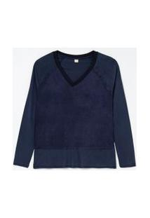 Blusa Lisa Com Recortes | Marfinno | Azul | Pp