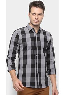 Camisa Xadrez Watkins&Krown Masculina - Masculino-Cinza+Preto