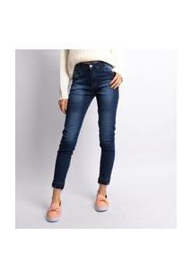 Calça Feminina Cigarrete Jeans Escuro Jeans Escuro