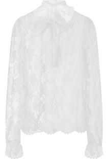 Dolce & Gabbana Blusa Chantilly Com Renda - Branco