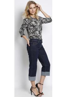 Camisa Texturizada Floral- Preta & Branca- Intensintens